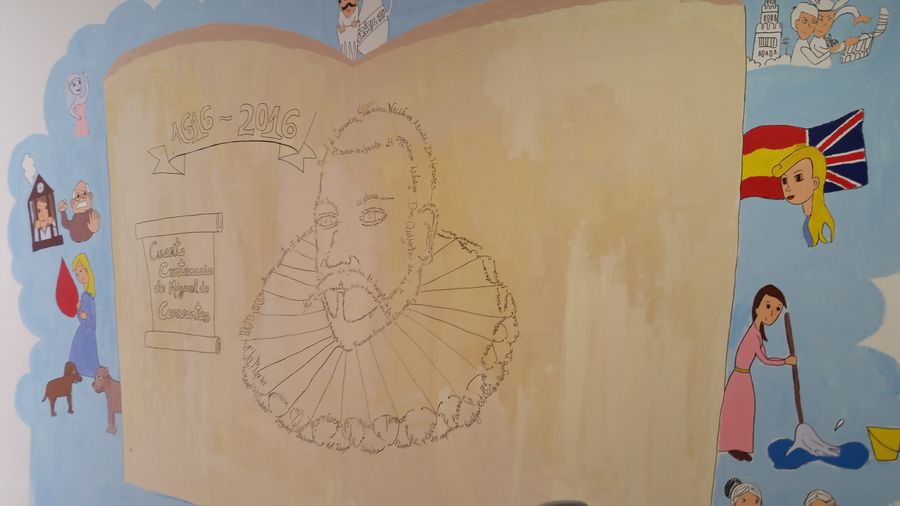 Nuestros alumnos de ESO, homenajean a Cervantes con un impresionante mural