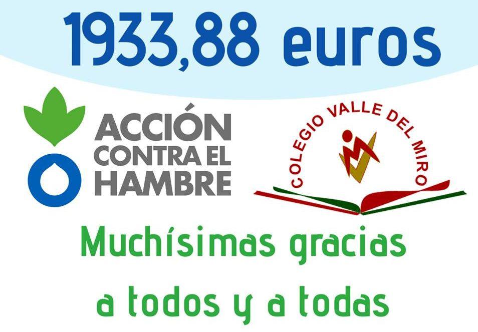 El colegio Valle del Miro ha recaudado en la Carrera contra el Hambre 2018 un total de 1933,88 Euros