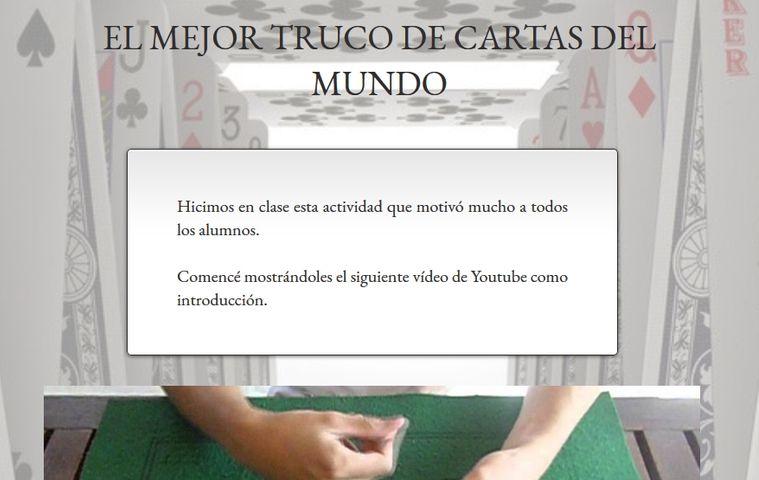 Página web 'El Mejor Truco de Cartas del Mundo' colegio bilingue valle del miro valdemoro