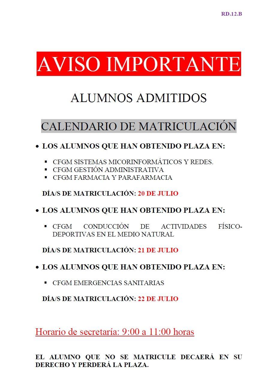 CFGM - AVISO IMPORTANTE - Alumnos admitidos