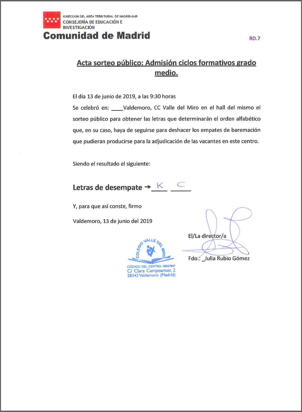 CFGM acta sorteo público letras desempate