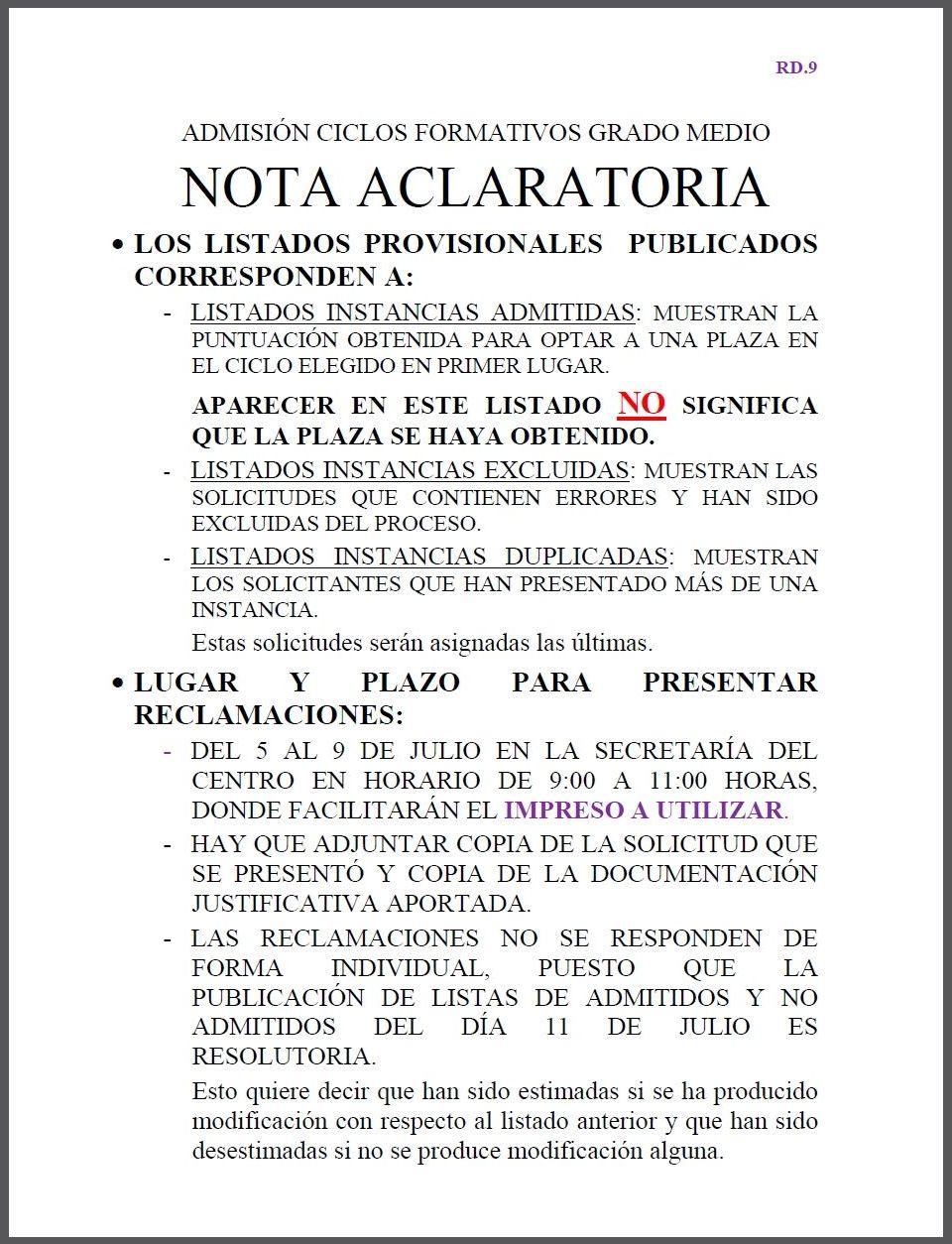 RD9. Cartel con Listas Baremadas