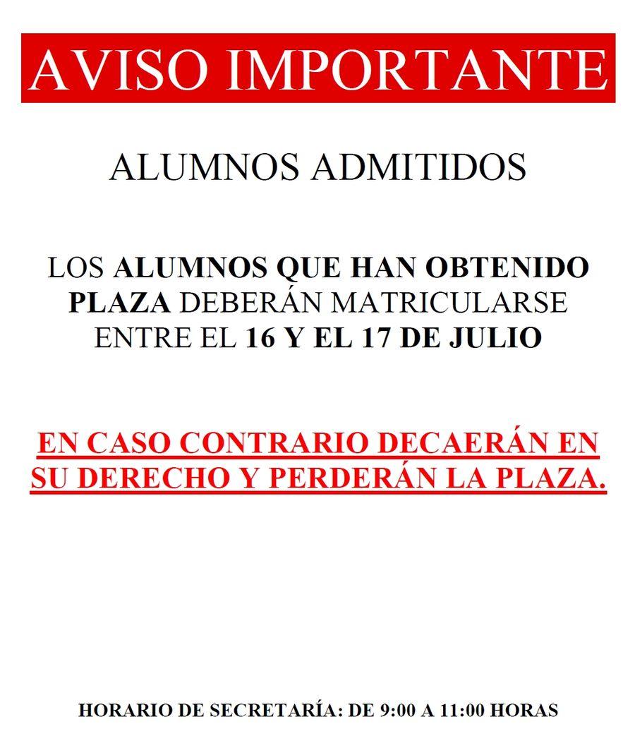 FPB - AVISO IMPORTANTE - Alumnos admitidos