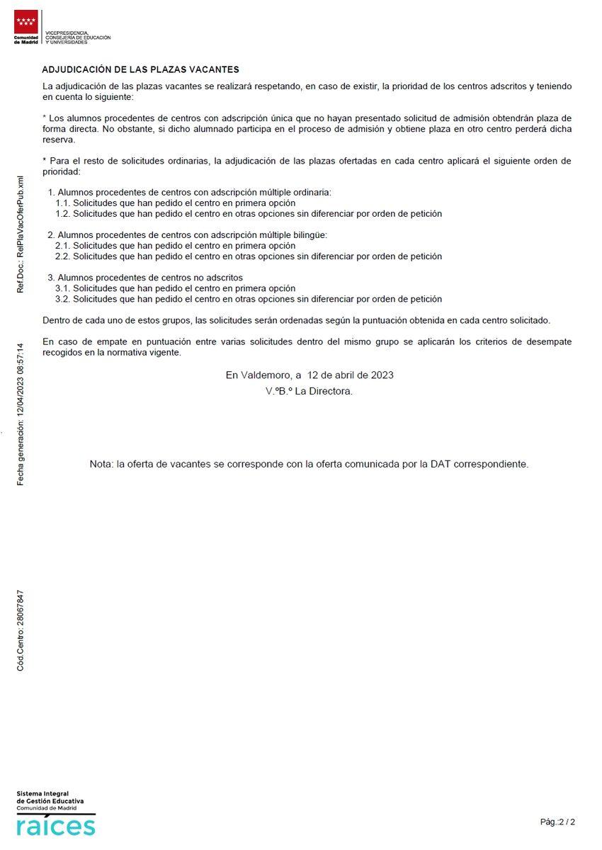Plazas vacantes ofertadas (Pág. 2)