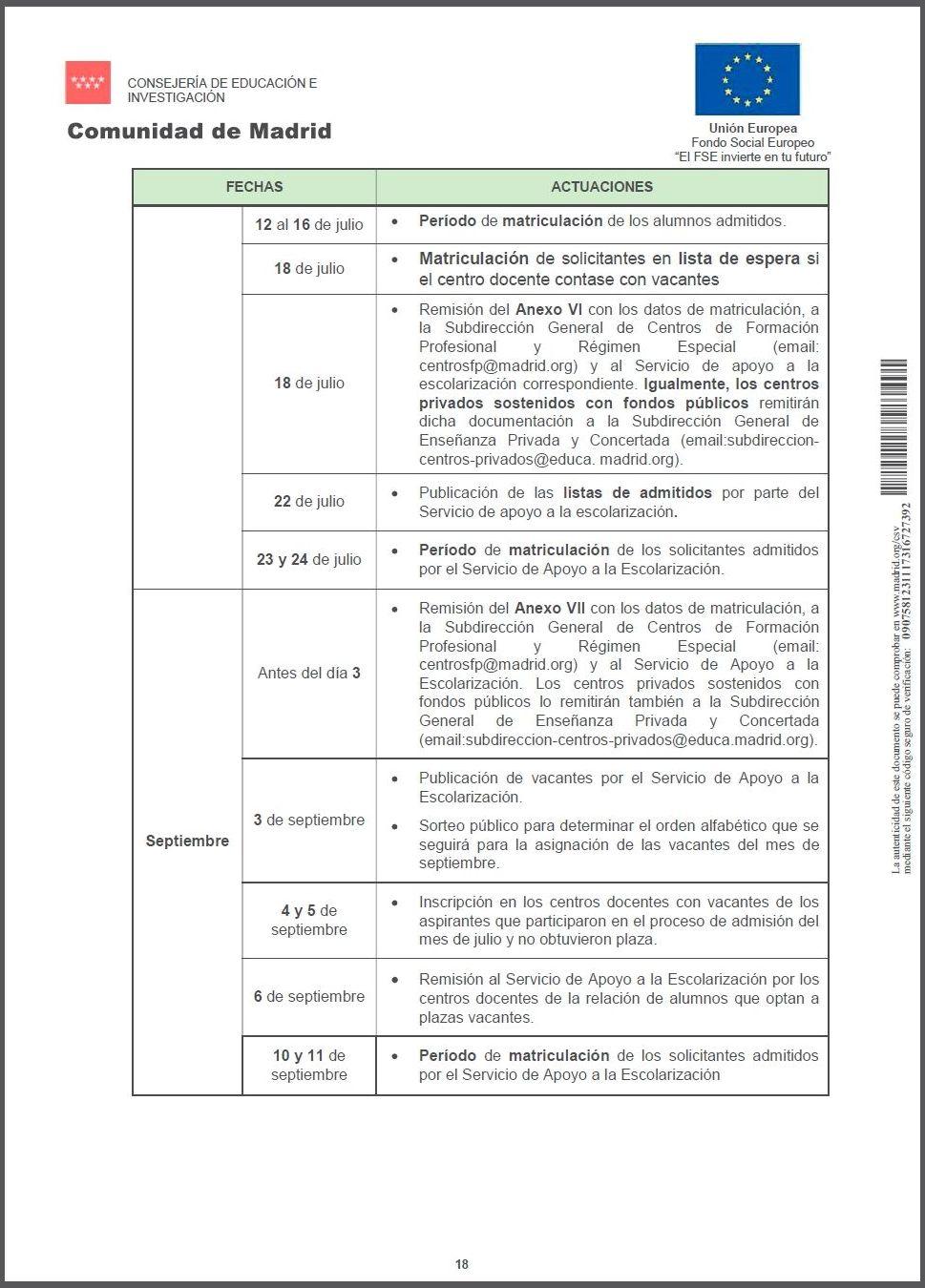 Calendario de actuaciones pág. 2