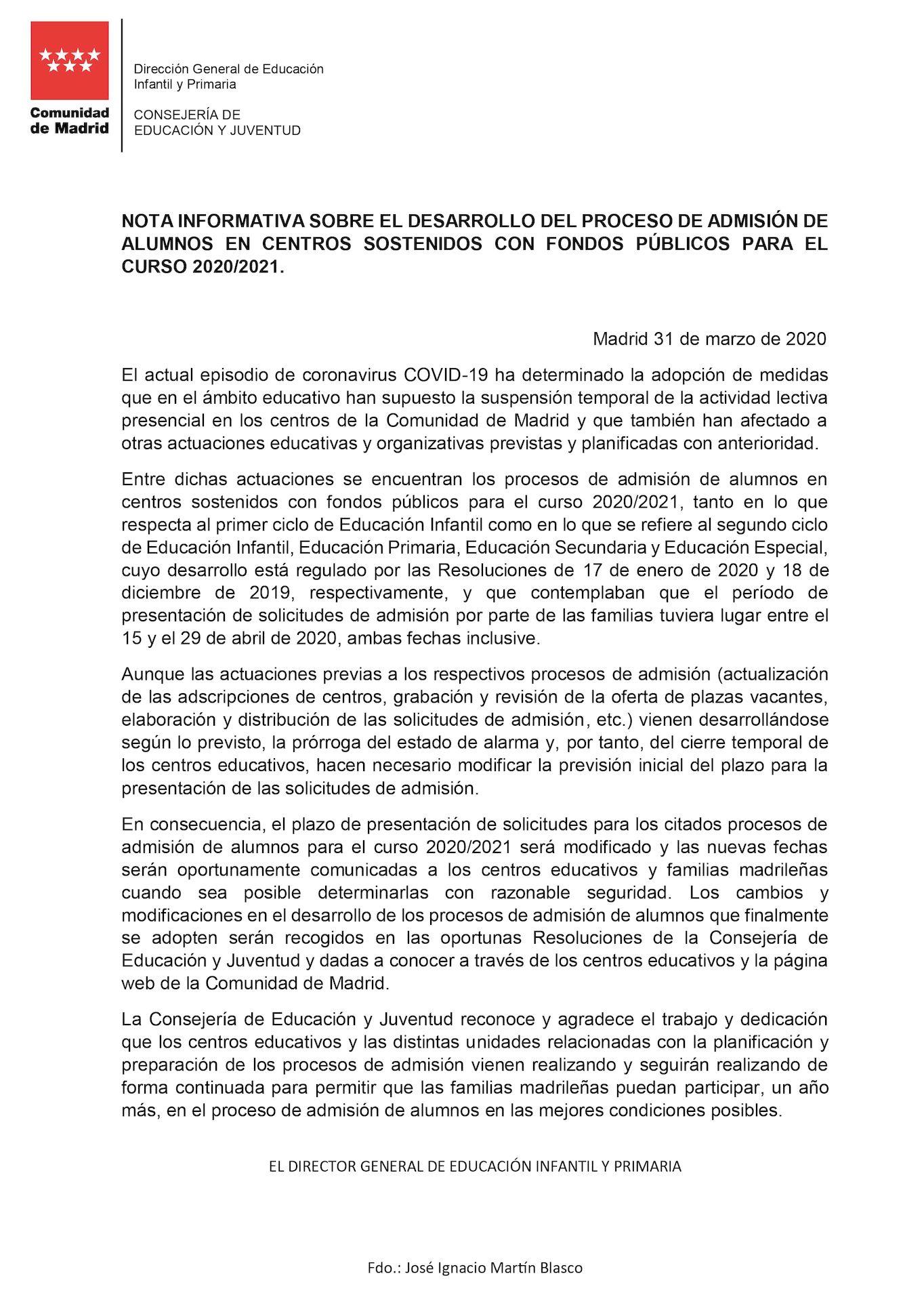 Nota informativa sobre el desarrollo del proceso de admisión